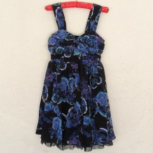 Black & blue silky day to night dress size small